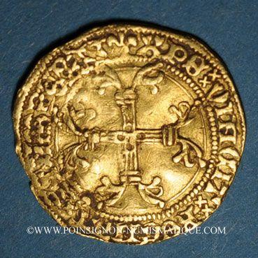 Coins Charles VII (1422-1461). 1/2 écu d'or à la couronne, 4e émission (26 mai 1447). Rouen (point 15e)
