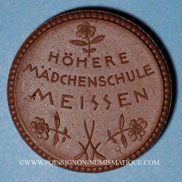 Coins Meissen. Höhere Mädchenschule. Médaille 1921. Porcelaine. 36,83 mm