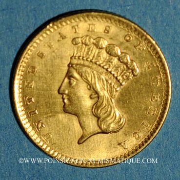 Coins Etats Unis. 1 dollar 1856. (PTL 900‰. 1,67 g)