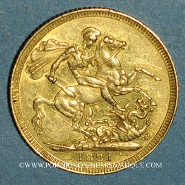 Coins Grande Bretagne. Georges IV (1820-1830). 1 souverain 1821. (PTL 917‰. 7,99 g)