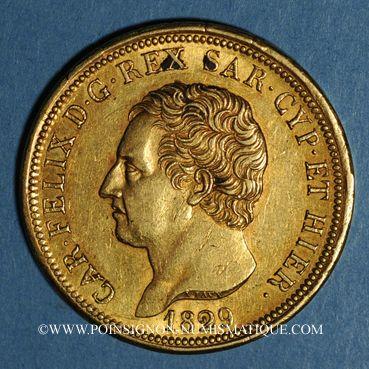 Coins Italie. Sardaigne. Charles Félix (1821-1831).  80 lires 1829 P. Gênes. (PTL 900‰. 25,80 g)
