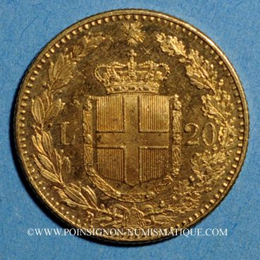 Coins Italie. Umberto I (1878-1900). 20 lires 1891 R oro rosso. Rome . (PTL 900‰. 6,45 g)