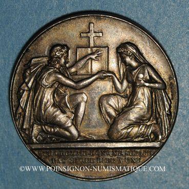 Coins Médaille de mariage. Argent. 30 mm. Gravée par Petit