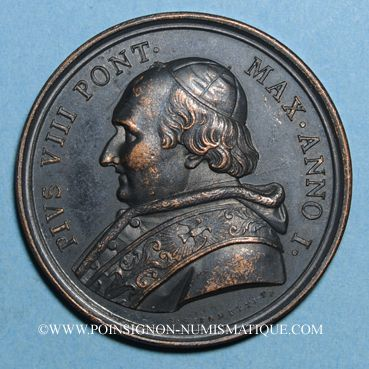 Coins Pie VIII (1829-1830). Médaille bronze, 1829