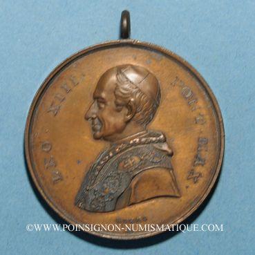 Coins Vatican. Léon XIII (1878-1903). L'Immaculée Conception. (1878). Médaille bronze