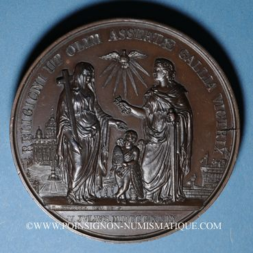 Coins Vatican. Pie IX (1846-1878). Restitution de Rome 1849. Bronze. 60 mm