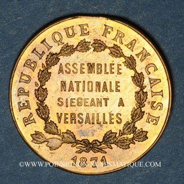 Coins Guerre de 1870-1871. A. Thiers, élu à l'Assemblée Nationale. Médaille cuivre jaune. 23,25 mm