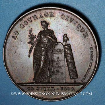 Coins Révolution de 1830. Lyon. Médaille cuivre 56 mm. Signée Dantzell