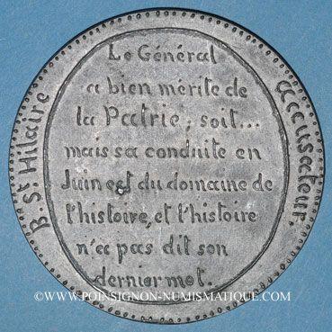 Coins Révolution de 1848. Accusations contre le général Cavaignac. Médaille étain. 72 mm