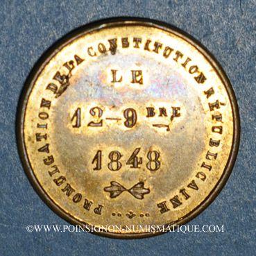 Coins Révolution de 1848. Promulgation de la Constitution. Médaille cuivre jaune. 24 mm