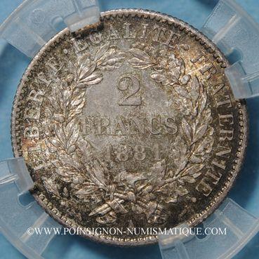 Coins 3e république (1870-1940). 2 francs Cérès 1881 A