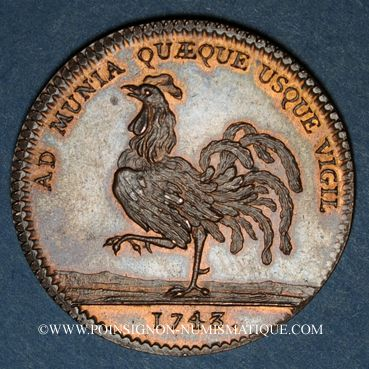 Coins Anjou. Mairie d'Angers. Marin Jallet de la Veroullière. Jeton cuivre 1743