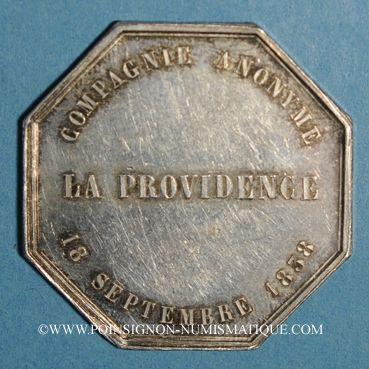 Coins Assurances. La Providence. Assurance incendie 1838. Jeton argent. Poinçon: abeille