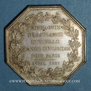 Coins Assurances. Paris, Mutuelle Incendie (M.A.C.I) 1817. Jeton argent. Poinçon /