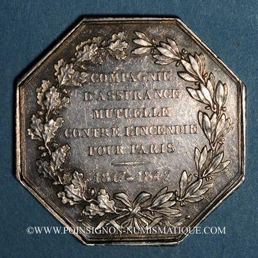 Coins Assurances. Paris, Mutuelle Incendie (M.A.C.I) 1847. Jeton argent. Poinçon: main