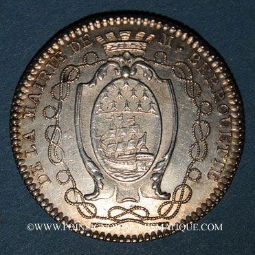 Coins Bretagne. Mairie de Nantes. J. J. Berrouette. Jeton argent 1782-1783