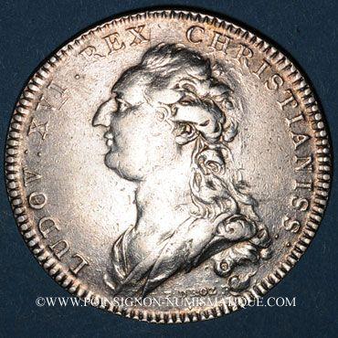 Coins Champagne. Ville de Sens. Jeton argent 1766. Buste de Louis XVI à droite