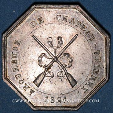 Coins Château Thierry. Arquebusiers. Jeton argent 1827. Sans poinçon