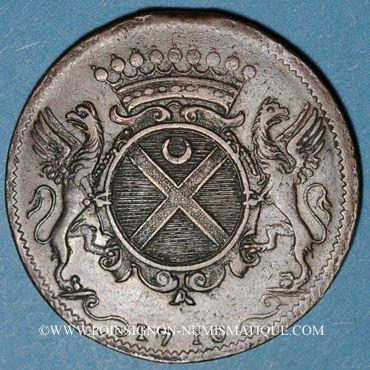 Coins Etats de Bourgogne. Claude de Vitte, maître ordinaire à la Chambre des Comptes. Jeton cuivre 1710