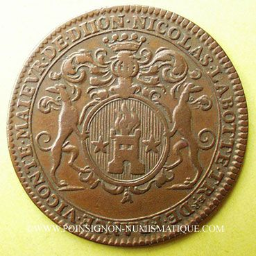 Coins Etats de Bourgogne. Nicolas Labotte, trésorier de France, vicomte, maire de Dijon. Jeton cuivre