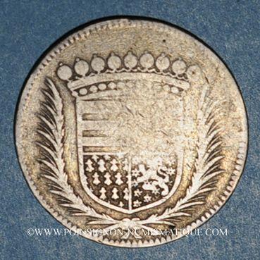 Coins Forez. Gaspard Hérail de Pierrefort, comte de la Roue et Claude de Talaru-Chalmazel. Jeton argent