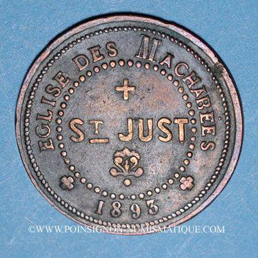 Coins Lyon (69). Eglise des Machabées. Saint Just. 1893. Jeton publicitaire