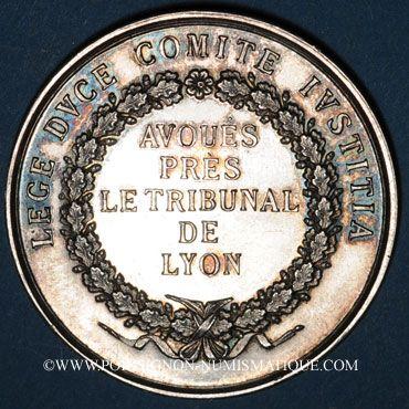 Coins Lyon. Avoués près le Tribunal. Jeton argent. Poinçon : abeille