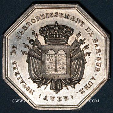 Coins Notaires. Bar-sur-Aube. Jeton argent 1840. Poinçon : main indicatrice