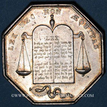 Coins Notaires. Pithiviers. Jeton argent. Poinçon : lampe antique
