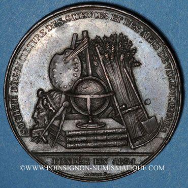 Coins Valenciennes, Société d'Agriculture, des Sciences et des Arts, jeton cuivre. Poinçon : pipe