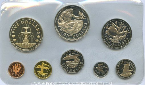 Coins Barbade. Série Proof 1973