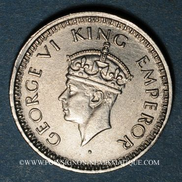 Coins Indes Anglaises. Georges VI (1936-1952). 1/4 roupie 1943B. Bombay