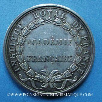 Stolen objects Académie Française, Louis XVIII, jeton argent, signé : E. Gatteaux. Sans poinçon