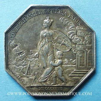 Stolen objects Assurances générales, Incendie, jeton argent 1818. Sans poinçon