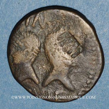 Stolen objects Auguste et Agrippa. Dupondius. Nîmes, 16 - 10 avant J-C. Imitation locale contremarquée