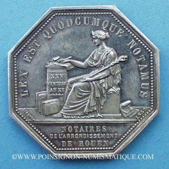 Stolen objects Notaires, Rouen, jeton argent. Poinçon : corne d'abondance