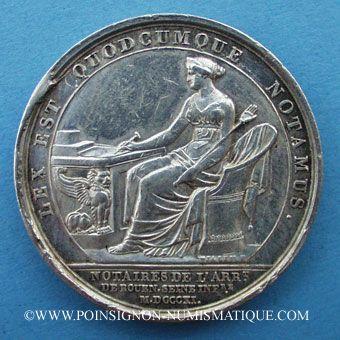Stolen objects Notaires, Rouen, Louis XVIII, jeton argent. Sans poinçon