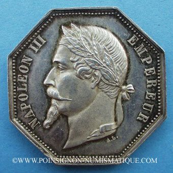 Stolen objects Notaires, Rouen, Napoléon III, jeton argent. Poinçon : abeille