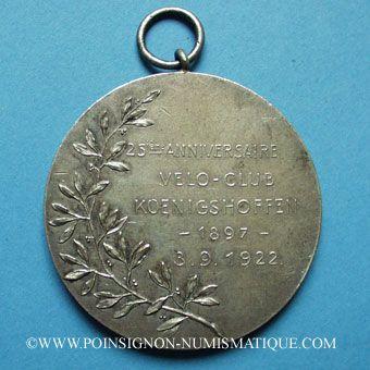 Stolen objects Strasbourg, 25e anniversaire du Vélo-club Koenigshoffen 1922 médaille br. argenté 50 mm