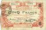 Banknotes Aisne, Ardennes et Marne - Bon régional. Hirson. Billet. 5 francs 14.6.1917, série 3
