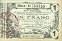Banknotes Aisne, Ardennes et Marne - Bon régional. Laon. Billet. 1 franc 16.6.1916, série 21