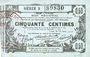 Banknotes Aisne, Ardennes et Marne - Bon régional. Laon. Billet. 50 cmes 16.6.1916, série 3