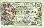 Banknotes Aisne, Ardennes et Marne - Bon régional. Laon. Billet. 50 cmes 16.6.1916, série 50
