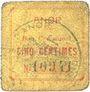 Banknotes Anor (59). Commune. Billet. 5 cmes, numéro à 5 chiffres