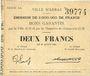 Banknotes Arras (62). Ville. Billet. 2 francs 29.8.1914, série BA