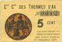 Banknotes Ax (09). Cie Gle des Thermes d'Ax. Billet. 5 cmes 1918