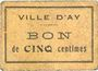 Banknotes Ay (51). Ville. Billet. 5 cmes