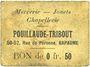 Banknotes Bapaume (62). Pouillaude-Tribout. Mercerie - jouets - chapellerie. Billet. 0,50 franc, carton