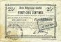 Banknotes Beaurevoir (02). Commune. Billet. B.R.U., 25 cmes