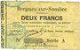 Banknotes Bergues-sur-Sambre (02). Commune. Billet. 2 francs  9.6.1915, série A